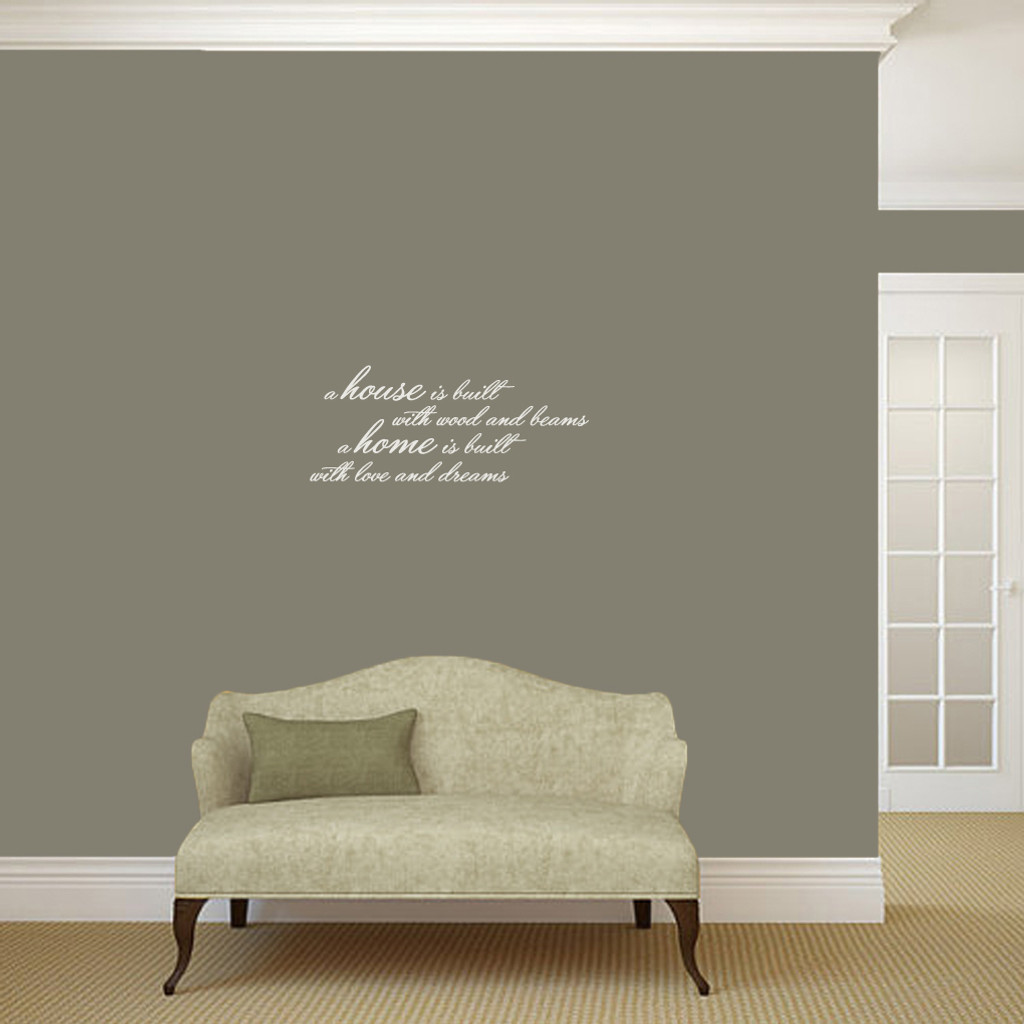 "A House Is Built Wall Decals and Stickers 24"" wide x 10"" tall Sample Image"