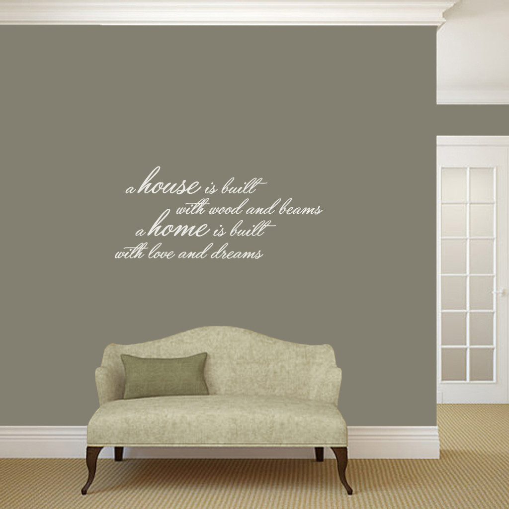 "A House Is Built Wall Decals and Stickers 36"" wide x 16"" tall Sample Image"