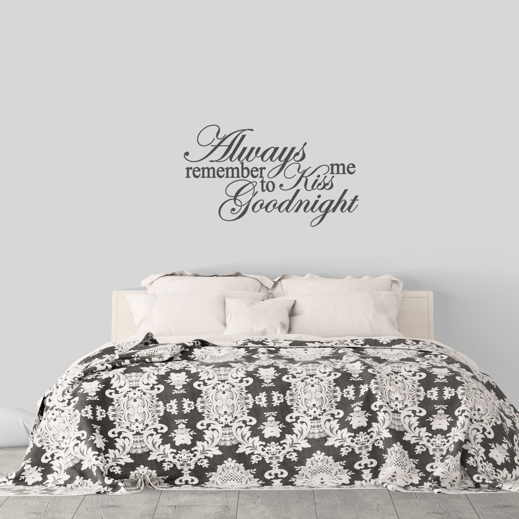 """Kiss Me Goodnight Wall Decal 36"""" wide x 21"""" tall Sample Image"""
