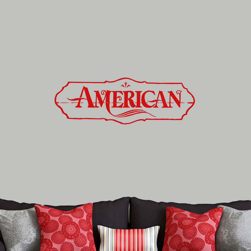"American Wall Decals 36"" wide x 12"" tall Sample Image"
