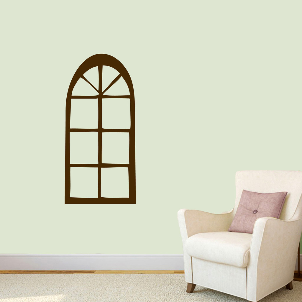 "Arched Window Wall Decal 17"" wide x 36"" tall Sample Image"