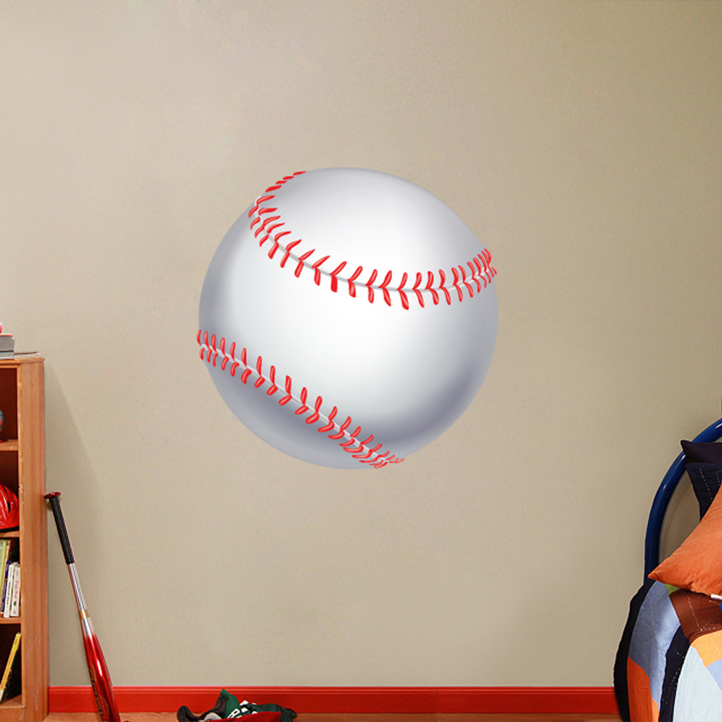 "Printed Baseball Wall Decals 30"" wide x 30"" tall Sample Image"