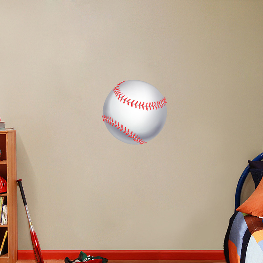 "Printed Baseball Wall Decals 18"" wide x 18"" tall Sample Image"