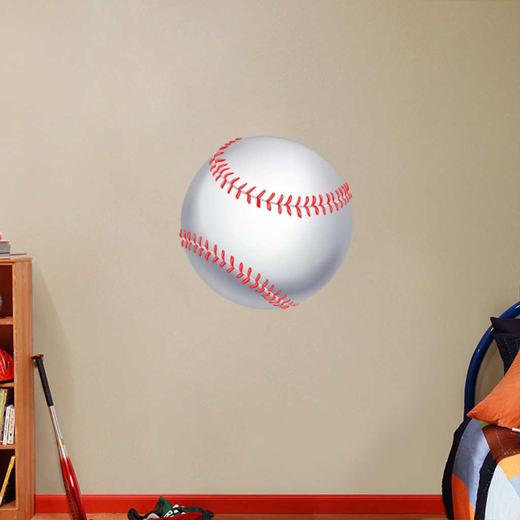 "Printed Baseball Wall Decals 24"" wide x 24"" tall Sample Image"