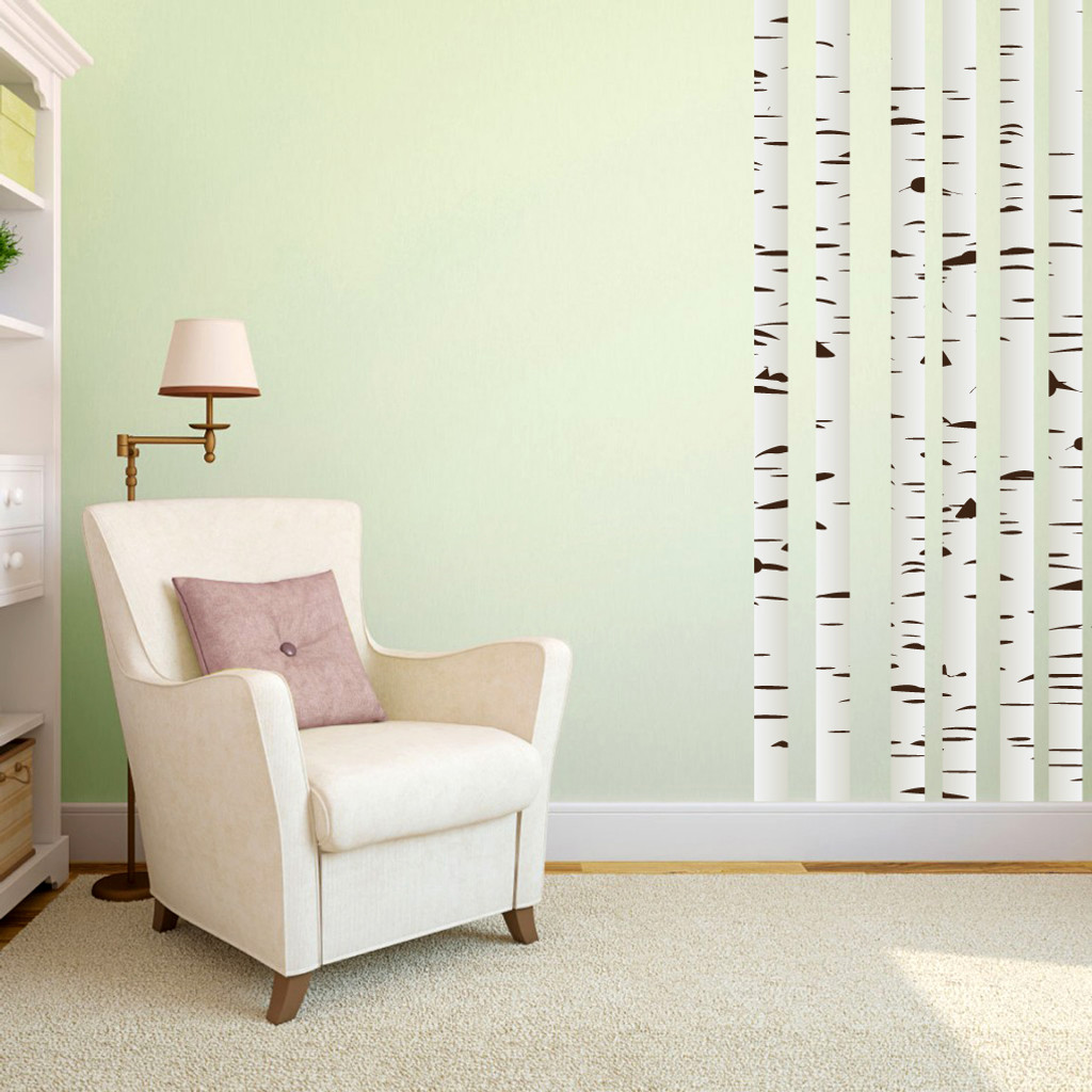 Birch Trees Printed Wall Decals Medium Sample Image