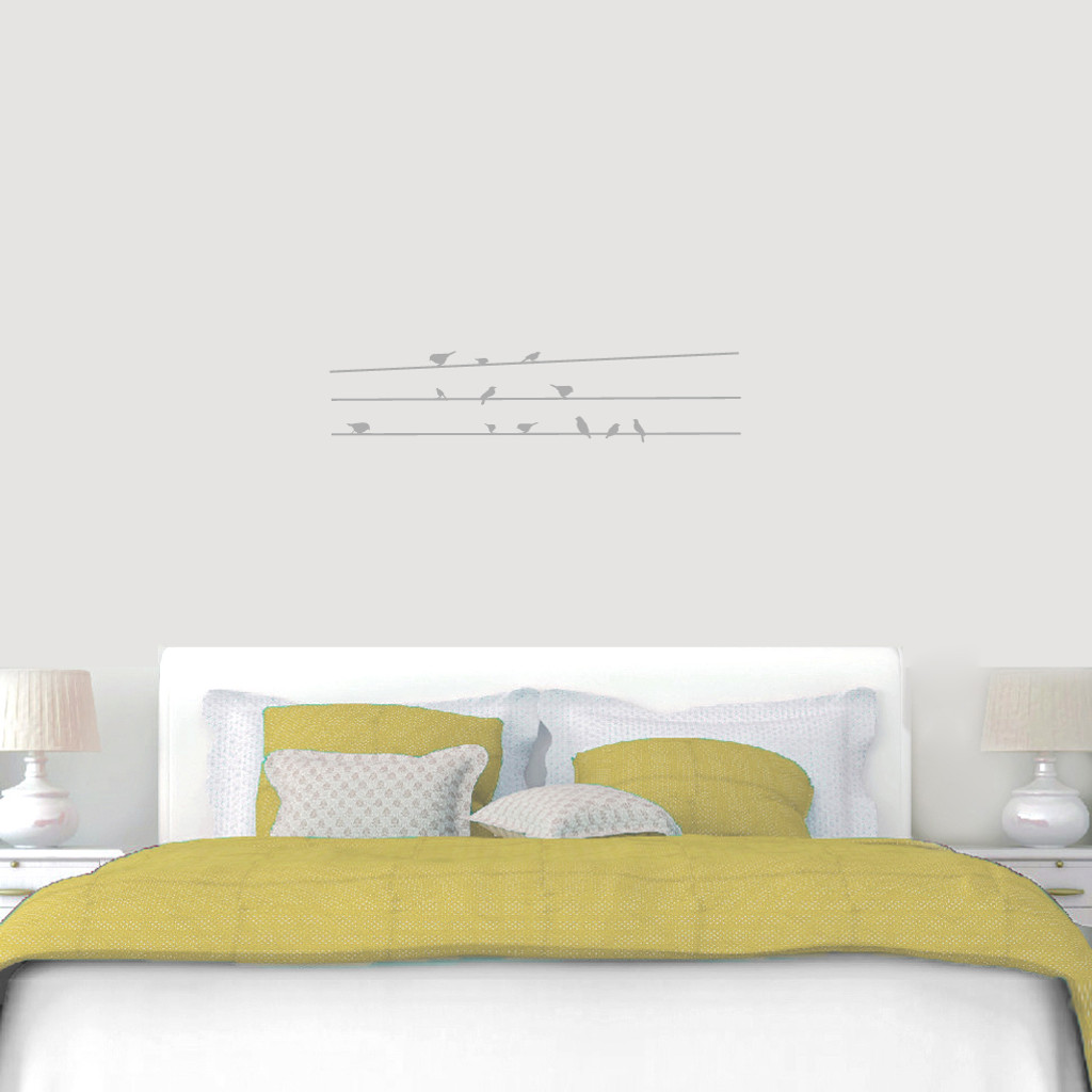 "Birds On Lines Wall Decals 36"" wide x 8"" tall Sample Image"