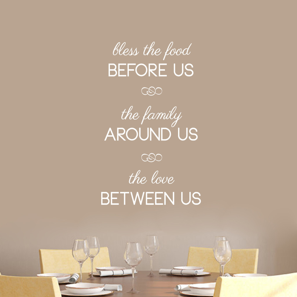"Bless The Food Before Us Wall Decals 22"" wide x 36"" tall Sample Image"
