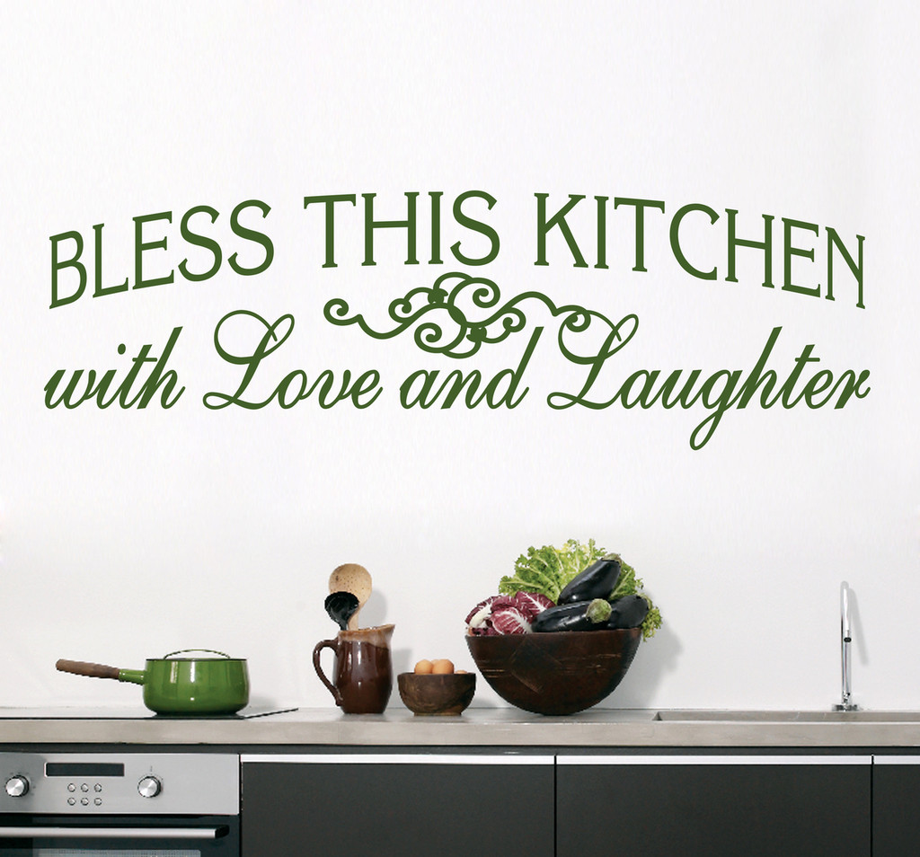 "Bless This Kitchen Wall Decals 70"" wide x 22"" tall Sample Image"