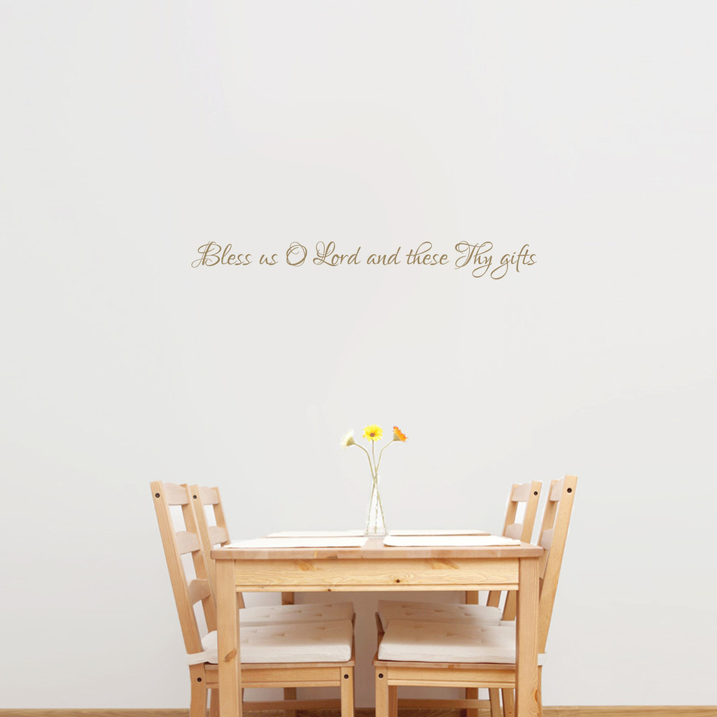 """Bless Us O Lord Wall Decal 36"""" wide x 4"""" tall Sample Image"""