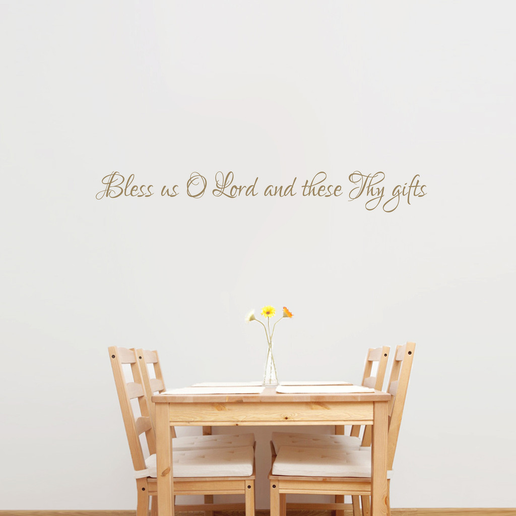 """Bless Us O Lord Wall Decal 48"""" wide x 6"""" tall Sample Image"""