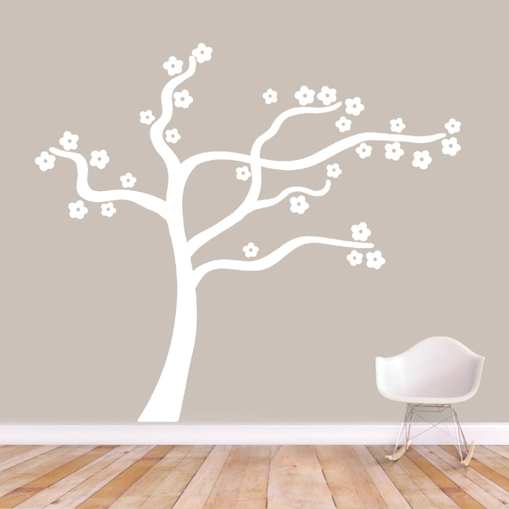 "Blowing Flower Tree Wall Decal Wall Stickers 72"" wide x 64"" tall Sample Image"