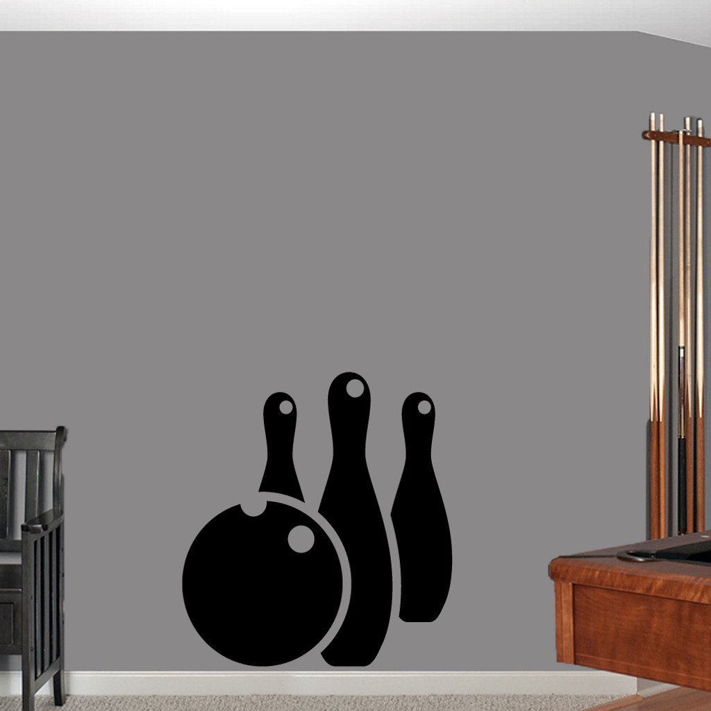"Bowling Ball and Pins Wall Decals Wall Stickers 33"" wide x 36"" tall Sample Image"