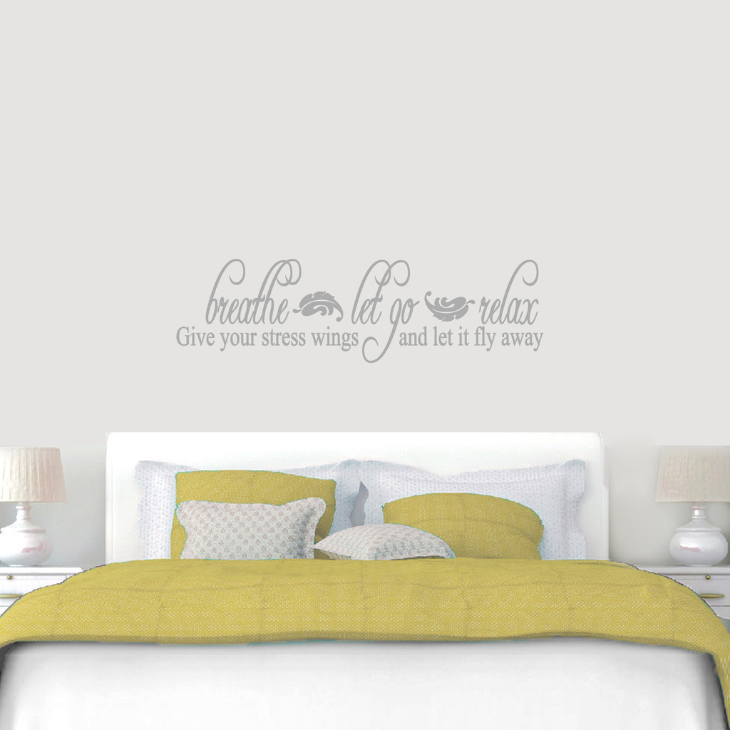 "Breathe Let Go Relax Wall Decal 60"" wide x 17"" tall Sample Image"
