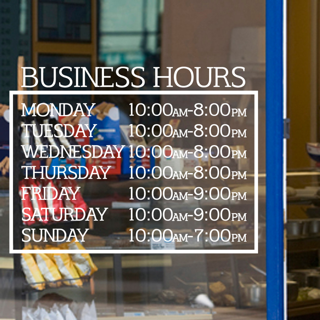 Business Hours Wall Decals and Stickers