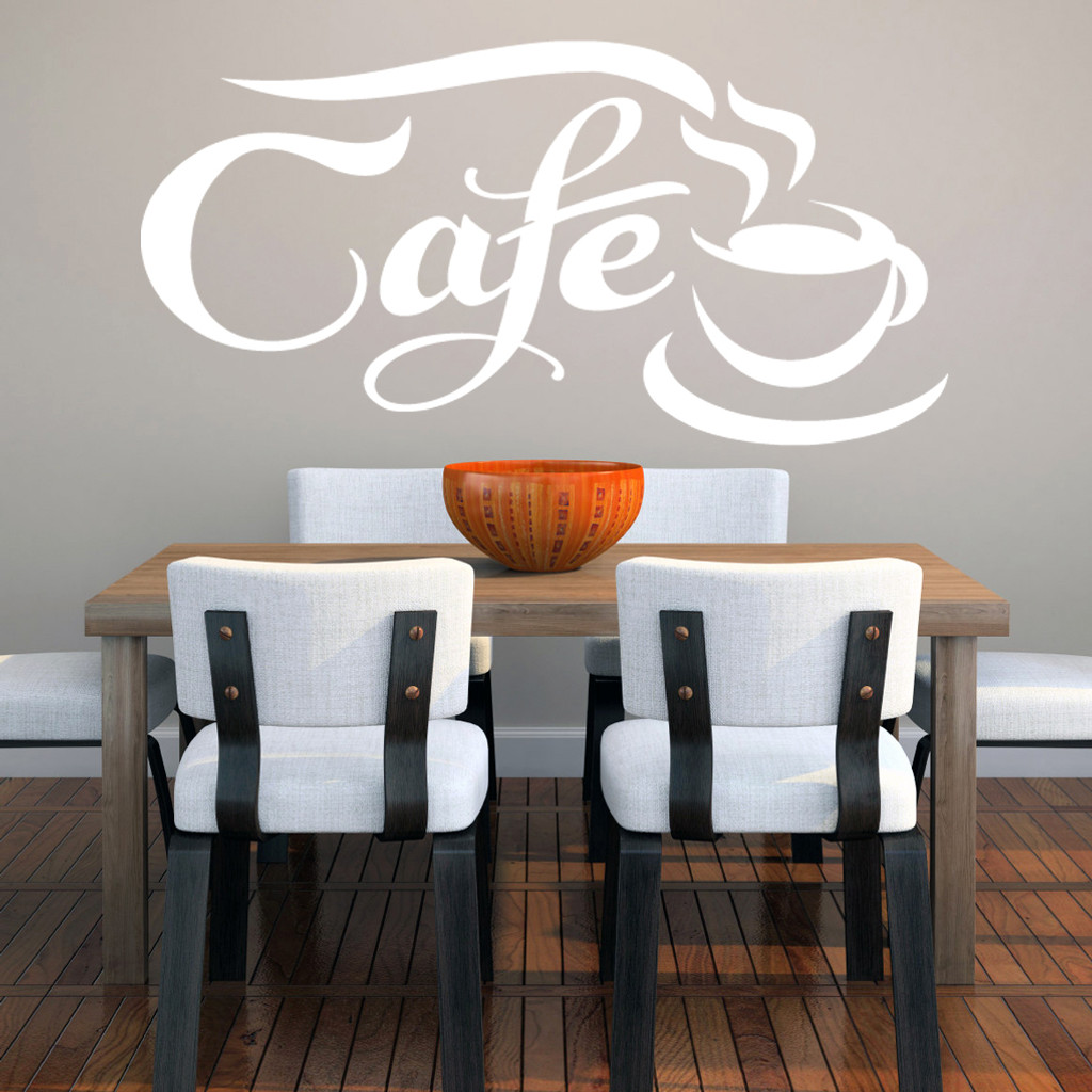 "Cafe Wall Decals 44"" wide x 22"" tall Sample Image"