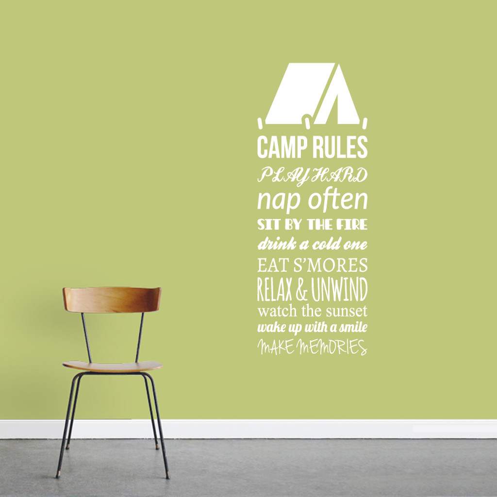 "Camp Rules - Tent Wall Decals Wall Stickers 18"" wide x 48"" tall Sample Image"