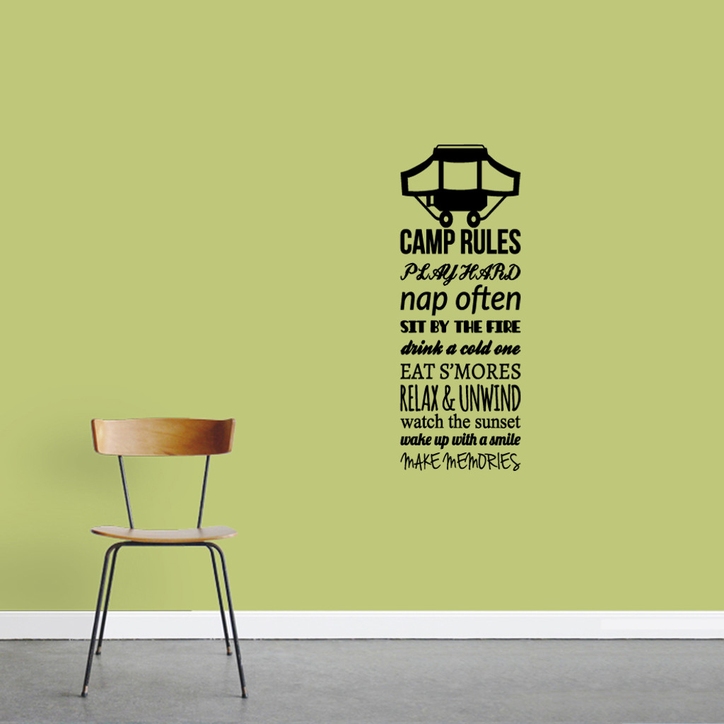 "Camp Rules - Pop Up Camper Wall Decals Wall Stickers 18"" wide x 48"" tall Sample Image"