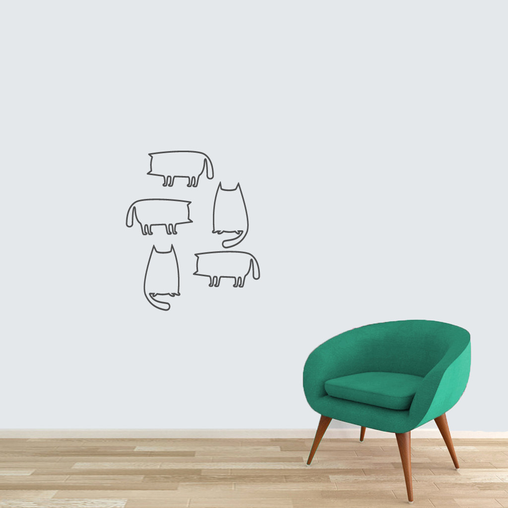 Cat Outlines Wall Decals Small Sample Image