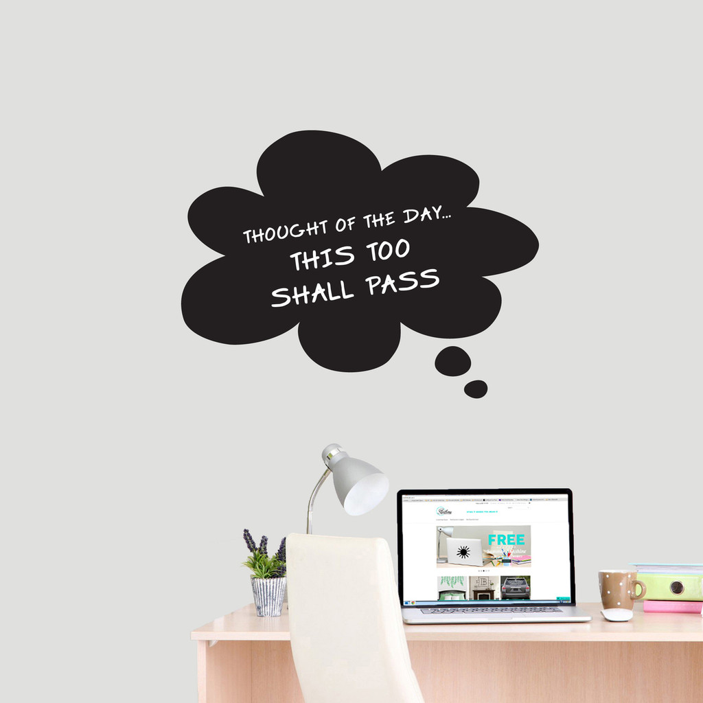 """Chalkboard Thought Bubble Wall Decals 24"""" wide x 18"""" tall Sample Image (writing not included)"""