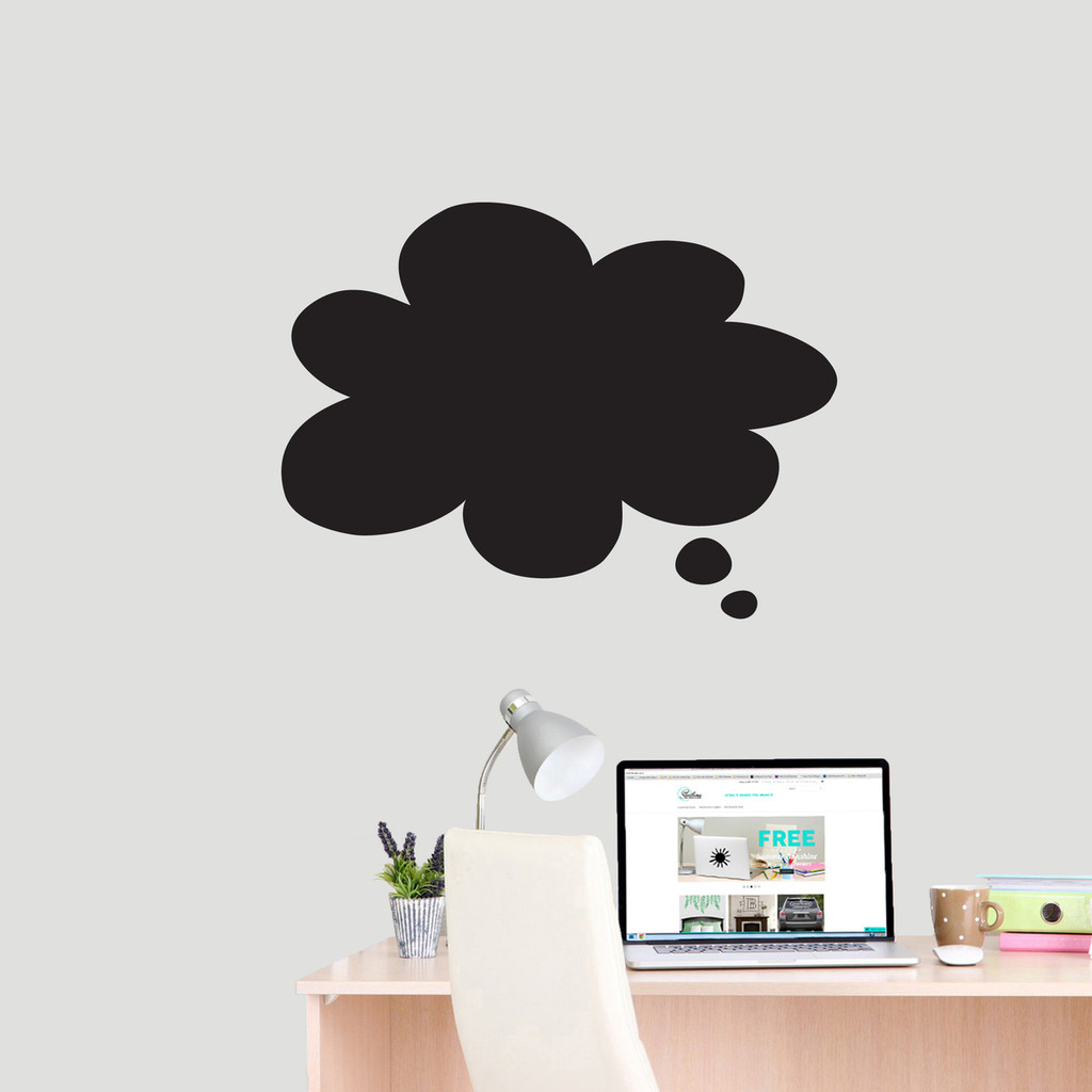 """Chalkboard Thought Bubble Wall Decals 24"""" wide x 18"""" tall Sample Image"""