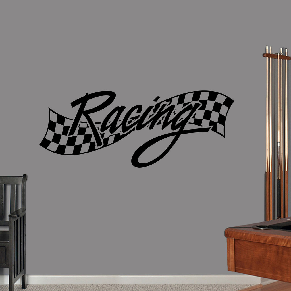 "Checkered Racing Wall Decal 48"" wide x 19"" tall Sample Image"