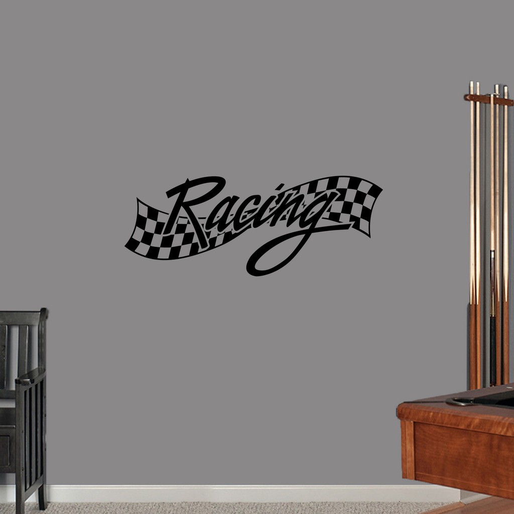 "Checkered Racing Wall Decal 36"" wide x 14"" tall Sample Image"