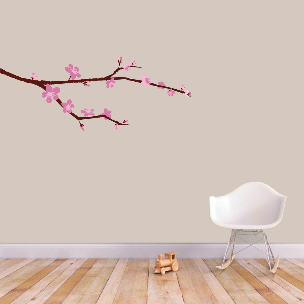 "Cherry Blossom Branch Printed Wall Decal 36"" wide x 14"" tall Sample Image"