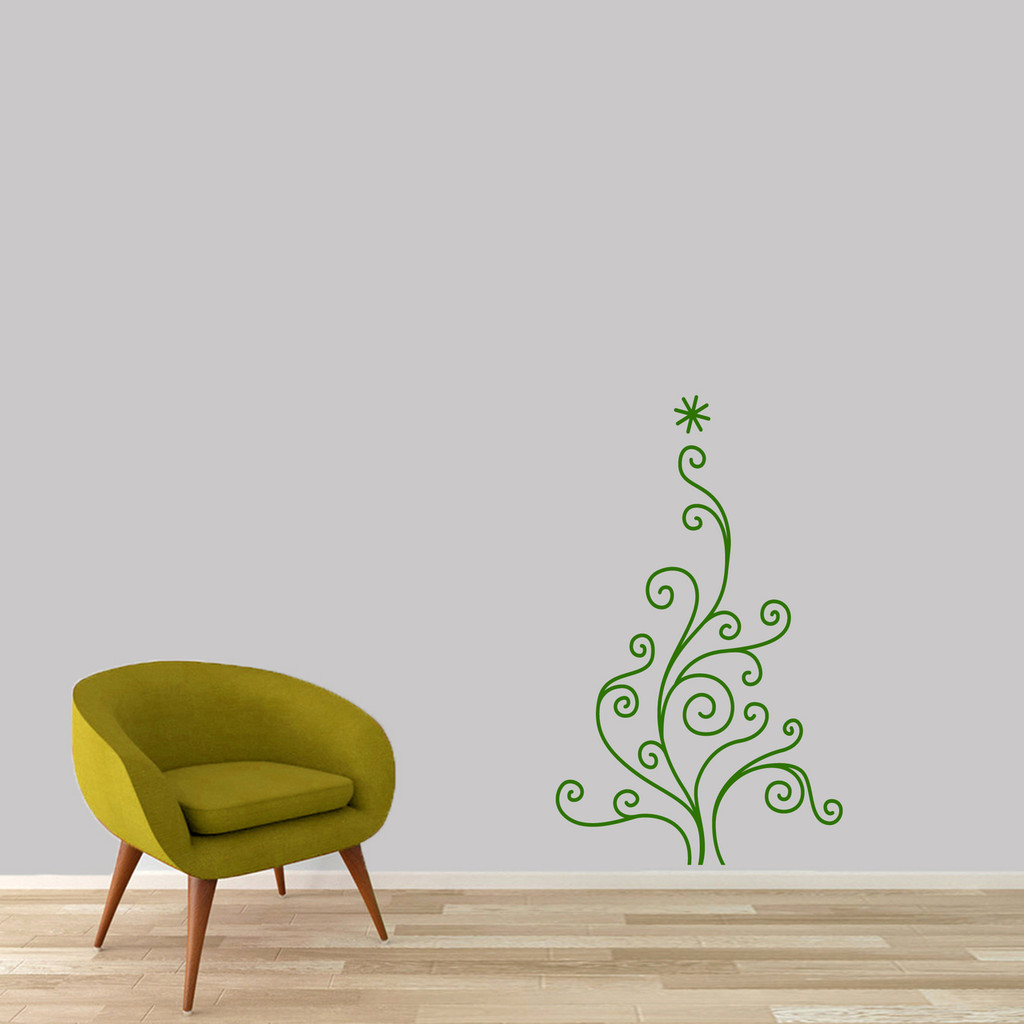 "Christmas Tree Wall Decal 22"" wide x 36"" tall Sample Image"