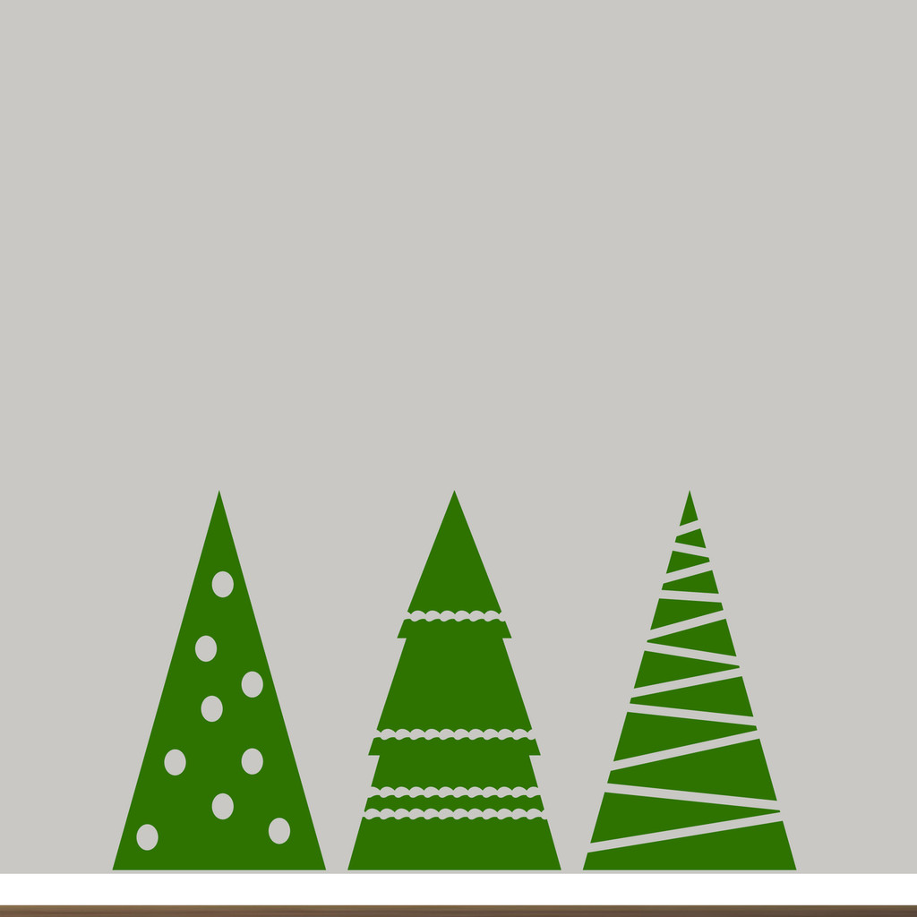 Christmas Tree Set Wall Decals Large Sample Image
