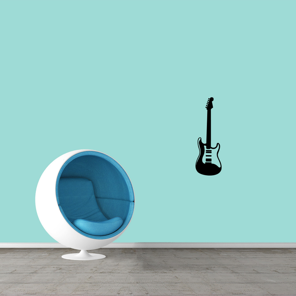 "Electric Guitar Wall Decal 8"" wide x 24"" tall Sample Image"