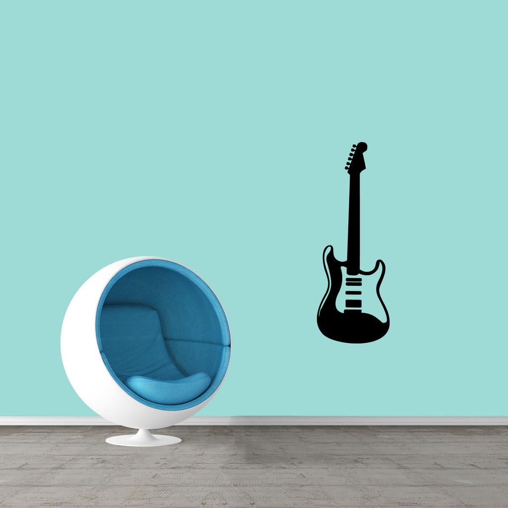"Electric Guitar Wall Decal 13"" wide x 36"" tall Sample Image"