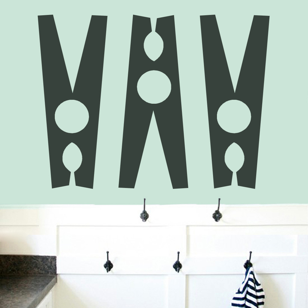 Set Of Clothespins Wall Decals Large Sample Image