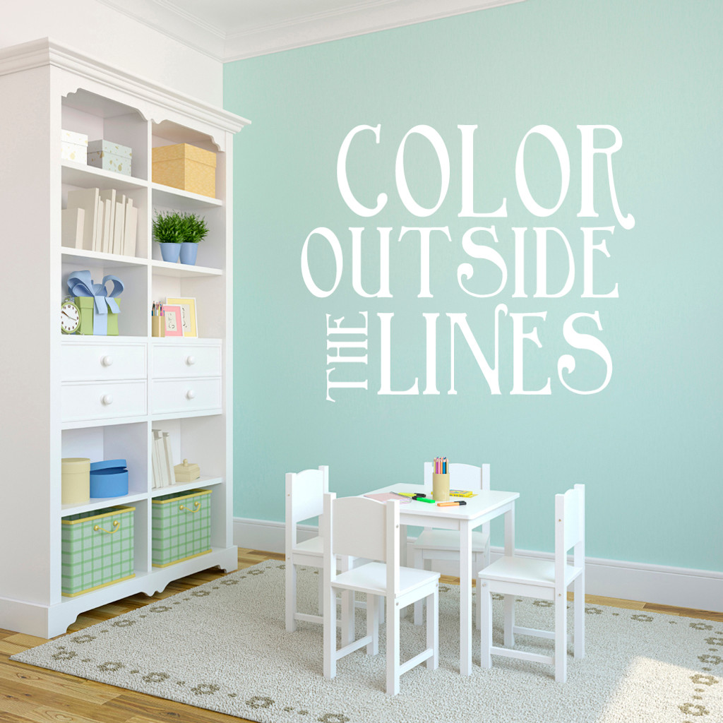 "Color Outside The Lines Wall Decals 48"" wide x 40"" tall Sample Image"