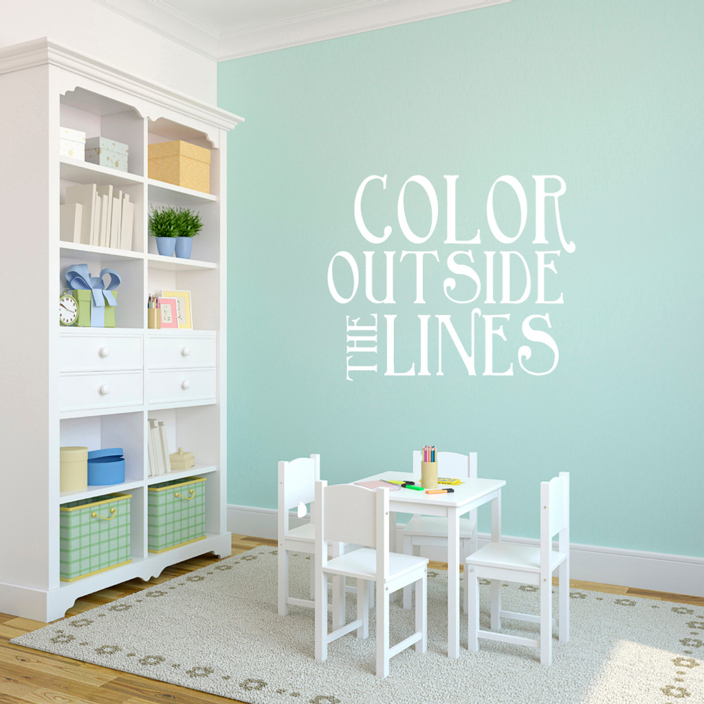 "Color Outside The Lines Wall Decals 36"" wide x 30"" tall Sample Image"