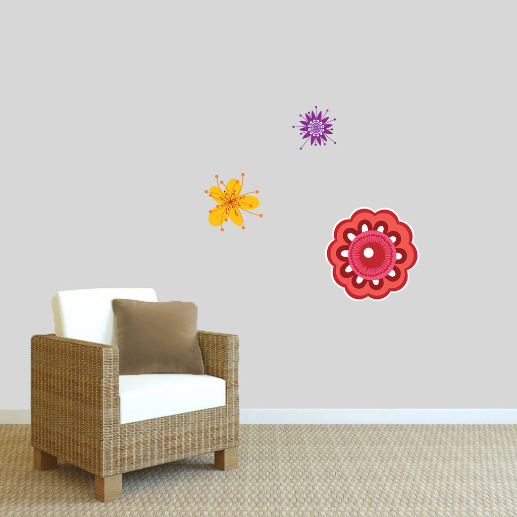 Colorful Flowers Printed Wall Decals Small Sample Image