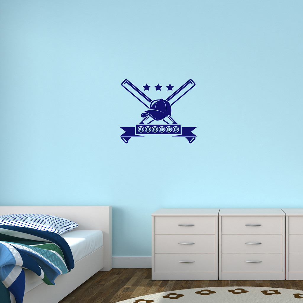 "Custom Baseball Name Wall Decal 24"" wide x 10"" tall Sample Image"