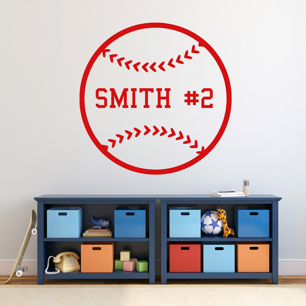 "Custom Baseball Wall Decal 36"" wide x 36"" tall Sample Image"