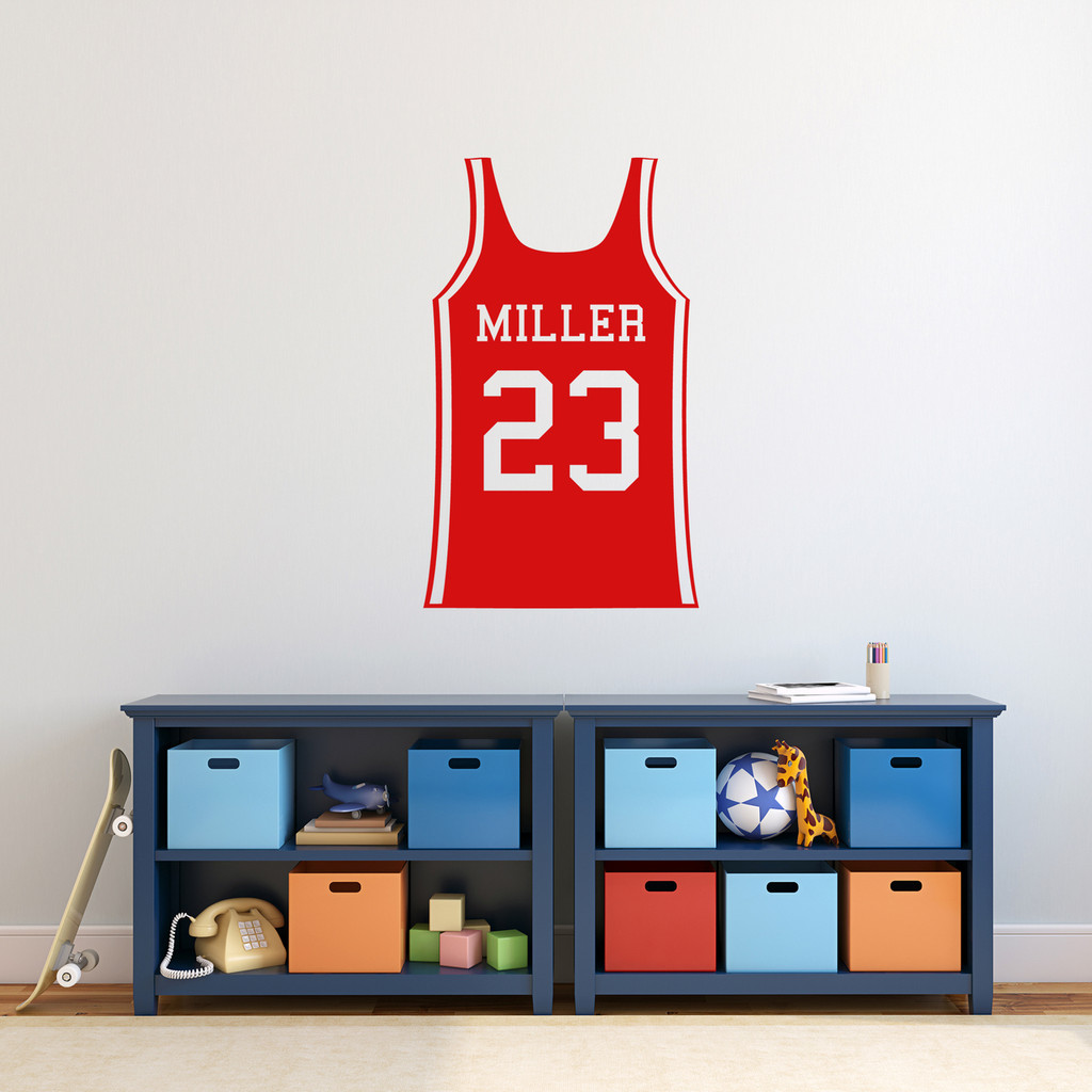 "Custom Basketball Jersey Wall Decal 22"" wide x 36"" tall Sample Image"