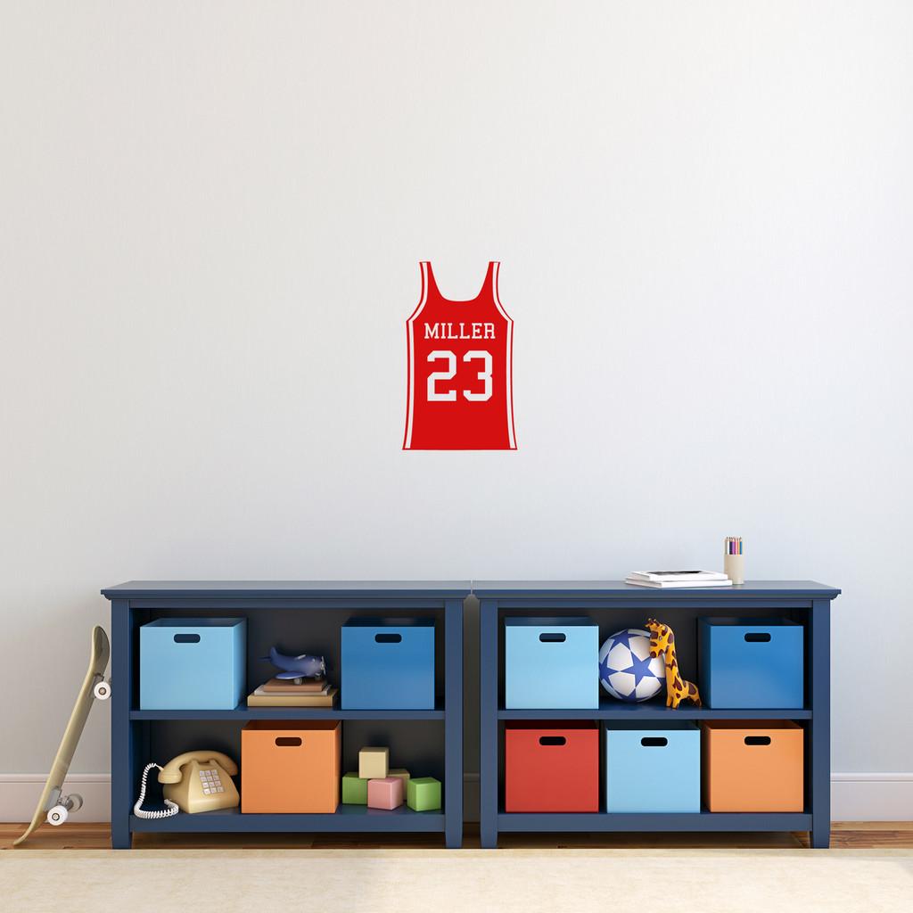 "Custom Basketball Jersey Wall Decal 11"" wide x 18"" tall Sample Image"