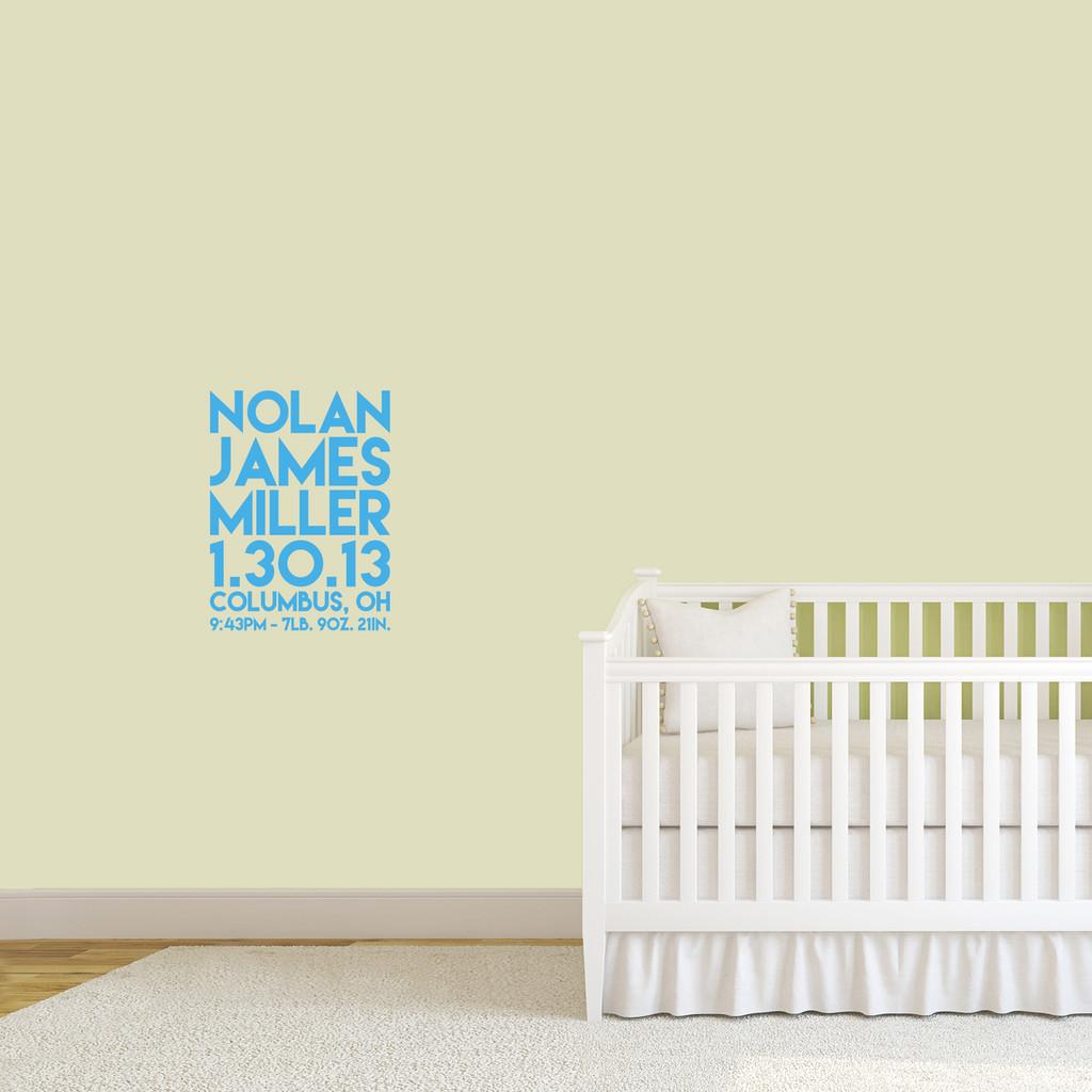 "Custom Birth Stats Wall Decal 18"" wide x 24"" tall Sample Image"