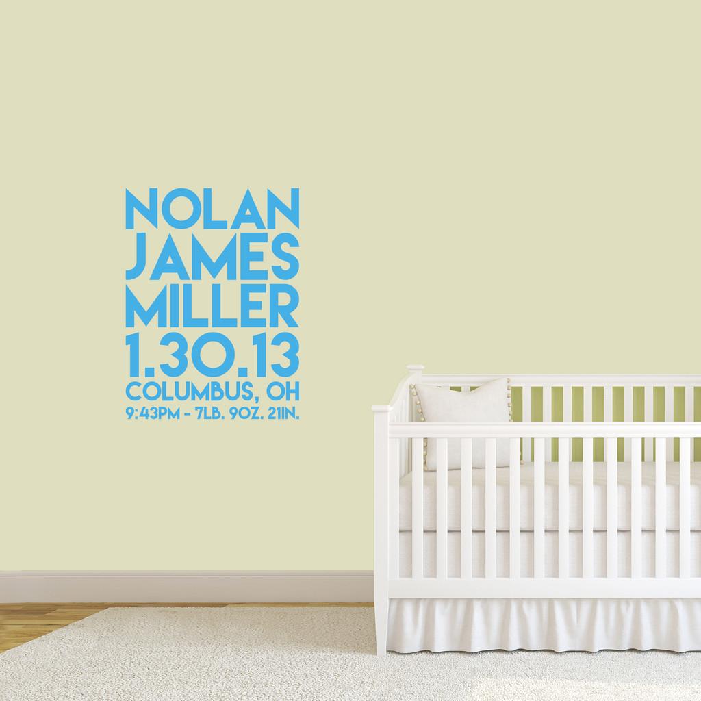 "Custom Birth Stats Wall Decal 27"" wide x 36"" tall Sample Image"