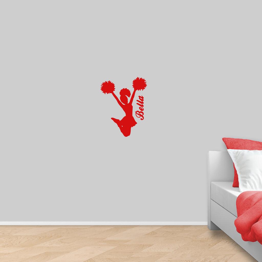 """Custom Cheerleader Wall Decal 14"""" wide x 18"""" tall Sample Image"""