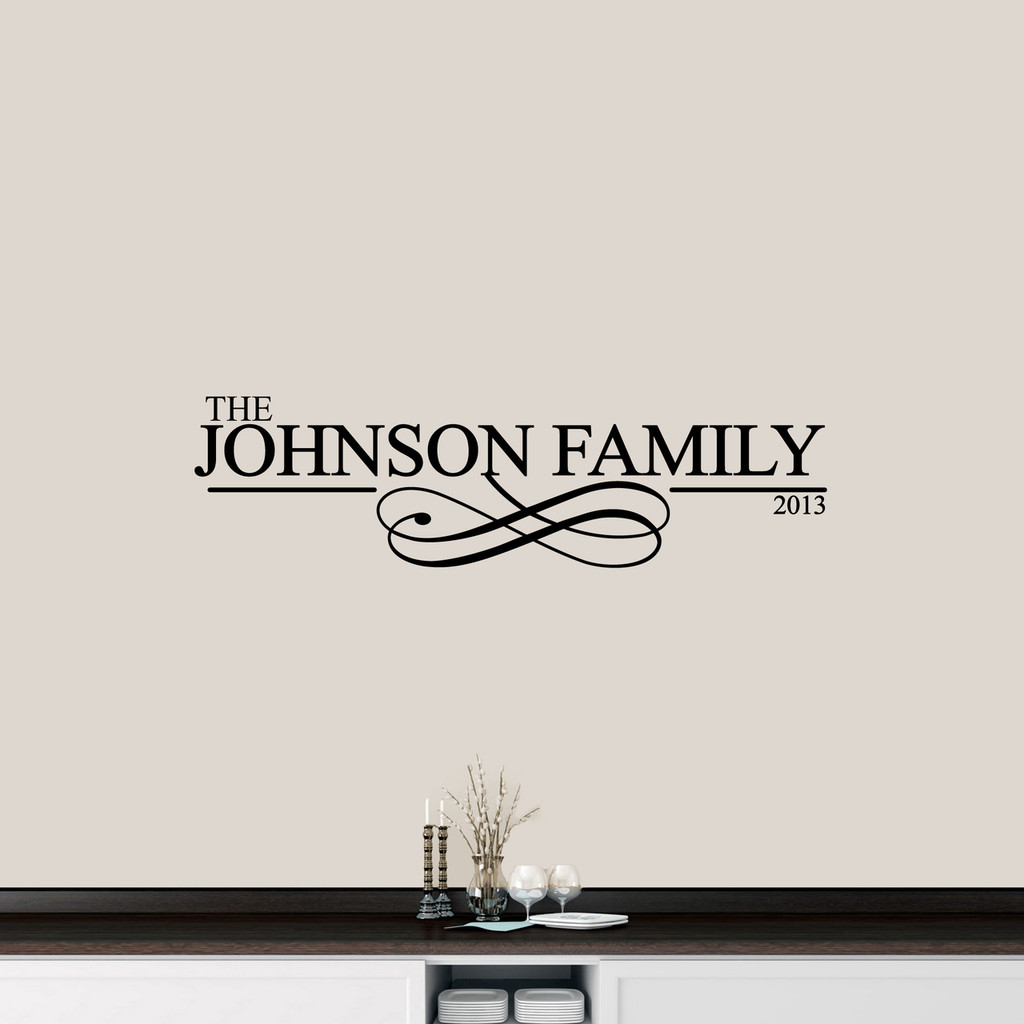 "Custom Family Name With Scroll Wall Decal 48"" wide x 13"" tall Sample Image"