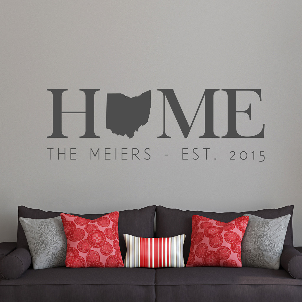 """Custom Home State Wall Decal 60"""" wide x 20"""" tall Sample Image"""