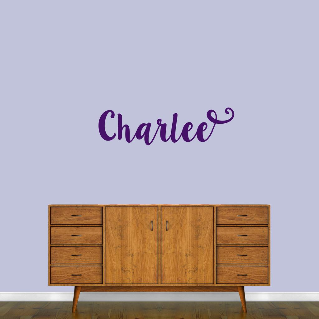 "Cute Cursive Custom Name Wall Decal 36"" wide x 10"" tall Sample Image"