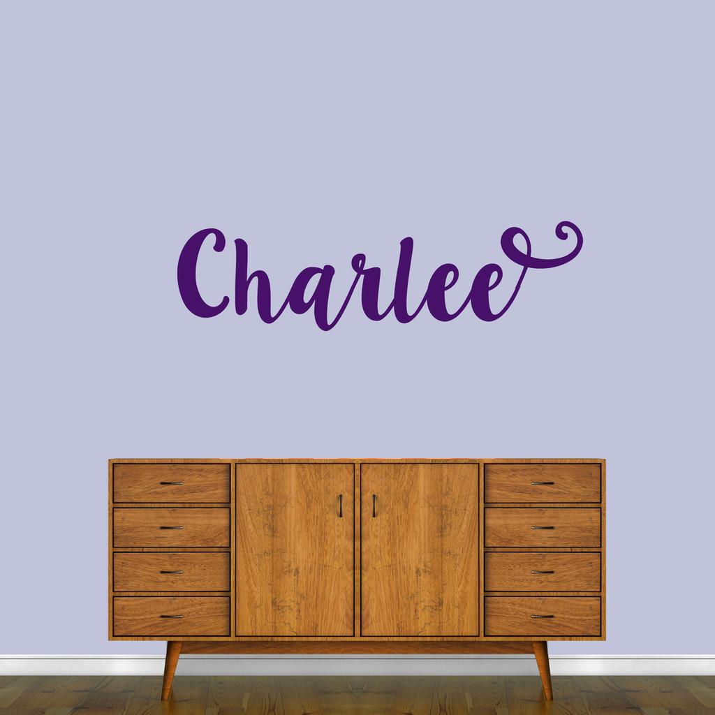 "Cute Cursive Custom Name Wall Decal 48"" wide x 13"" tall Sample Image"