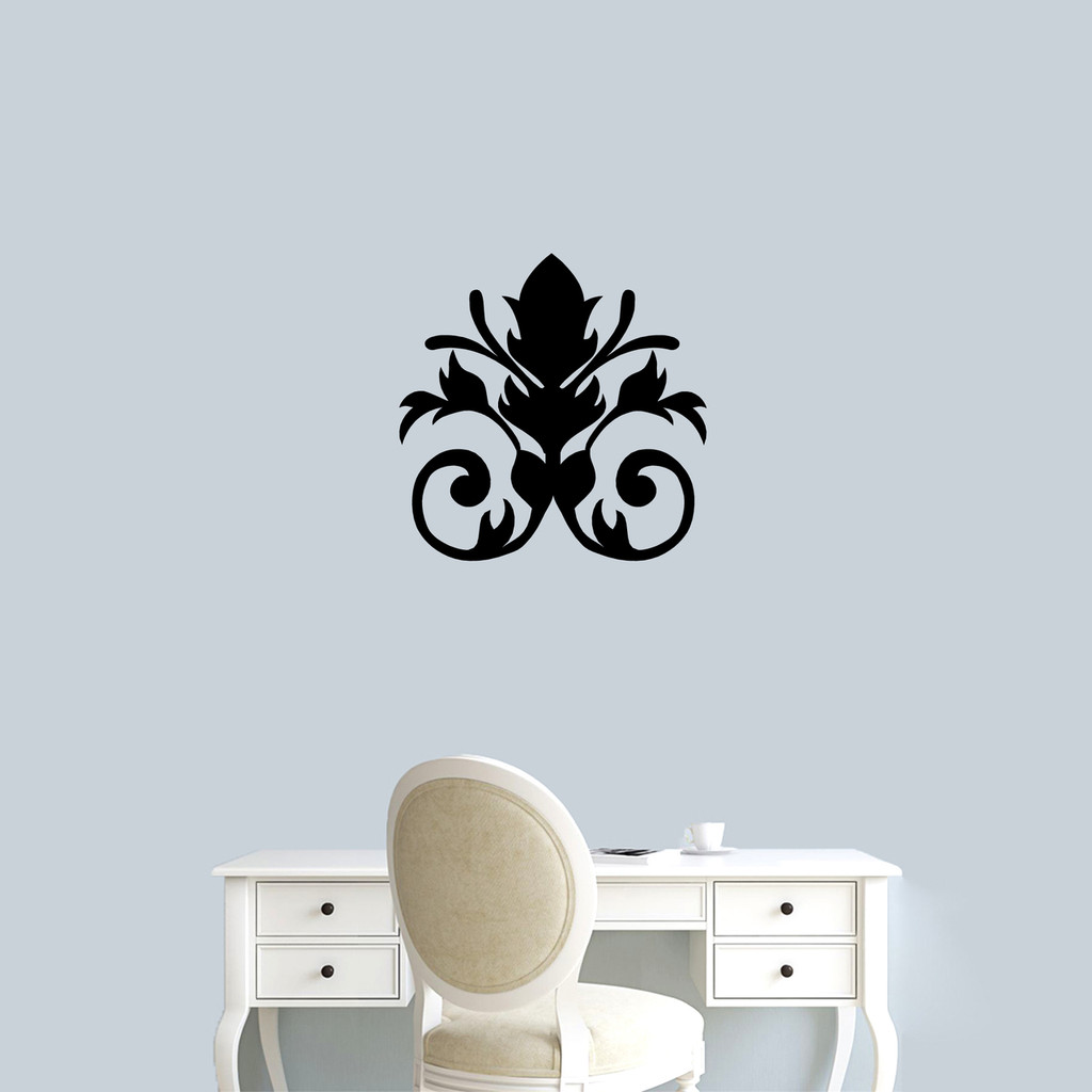 "Damask Flourish Wall Decal 22"" wide x 22"" tall Sample Image"