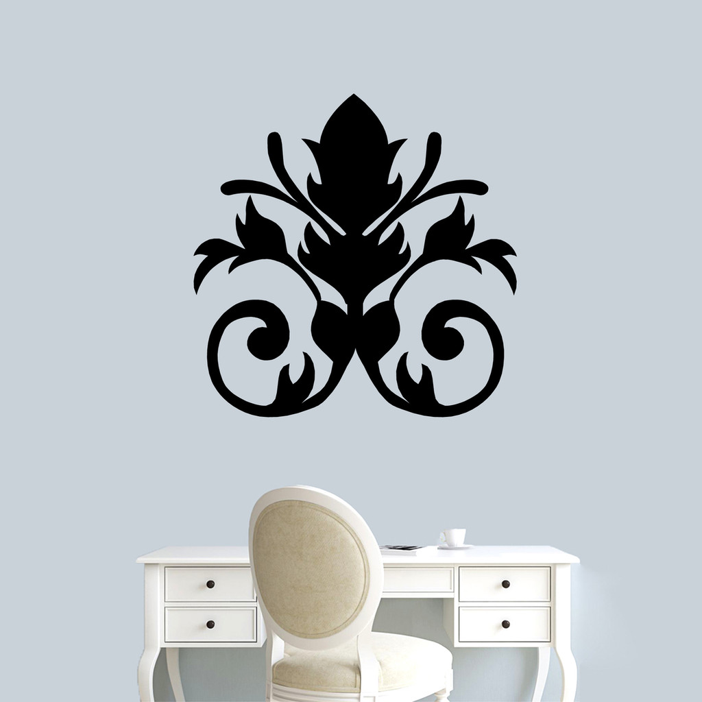 "Damask Flourish Wall Decal 36"" wide x 36"" tall Sample Image"