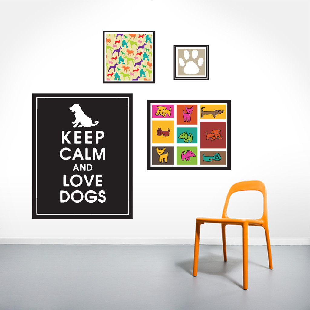 Dog Love Printed Wall Decals Large Sample Image