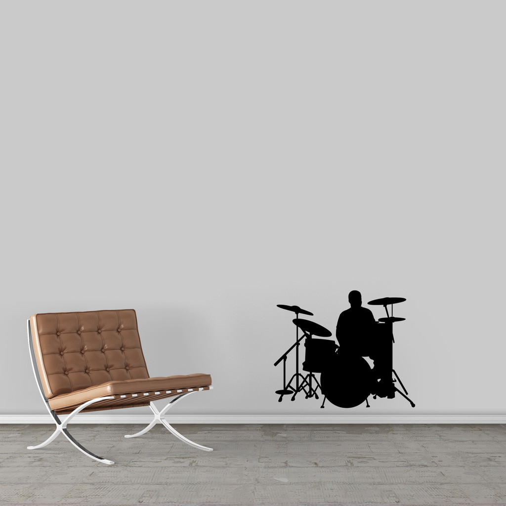 "Drum Set Wall Decal 24"" wide x 20"" tall Sample Image"